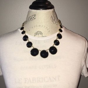 Black Statement Necklace With Circular Gems